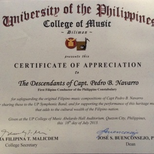 Capt pedro b navarro first filipino conductor of the philippine certificate of appreciation yadclub Gallery