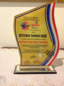 Outstanding Taguidinian Award, given posthumously to Capt. Pedro B. Navarro